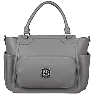 Leather Diaper Bag Tote with Changing Pad and Removable Easy to Clean Lining