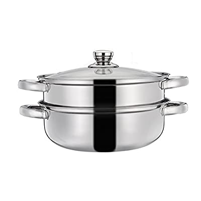 Yafeco Double Layers Stainless Steel Stack and Steam Pot Set - and Lid,Steamer Saucepot double boiler