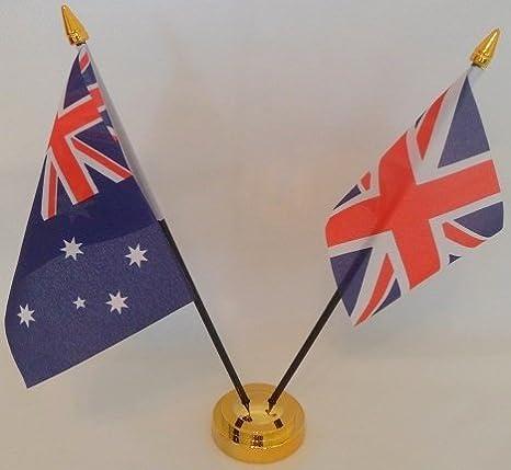 Australia bandera de Australia 2 bandera amistad banderas de bandera de pantalla con Base de oro de sobremesa mesa centro de mesa con dorado Bases Ideal para fiestas conferencias oficina pantalla: Amazon.es: