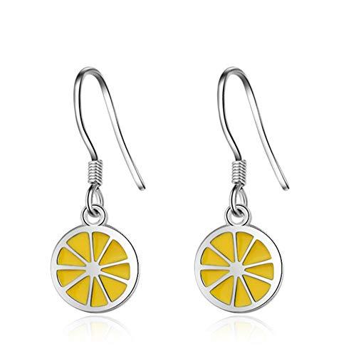 (Lemon Earrings Small Lemon Brass Fruit Dangle Earring For Women Girls)