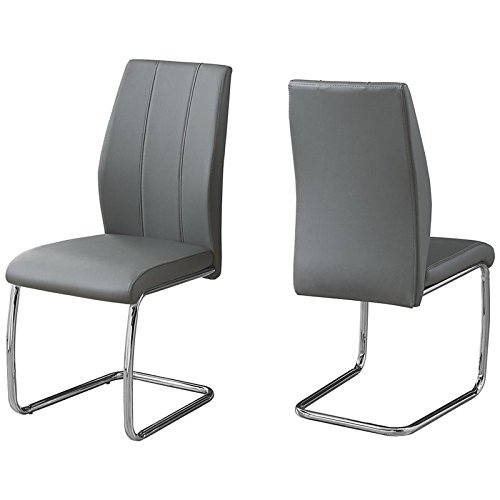 Monarch Specialties I 1077 2 Piece Dining Chair-2PCS/39 H Leather-Look/Chrome, Grey (Table Chairs Manhattan And Dining)