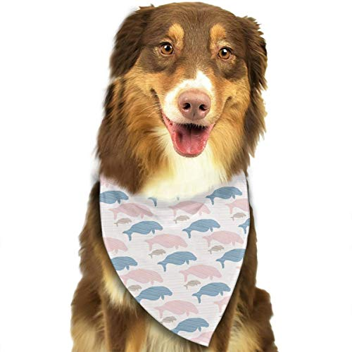 Seal Manatee Silhouette Pattern Stylish Dog Bandana Bibs Scarfs Pet Scarfs Cats Dog -