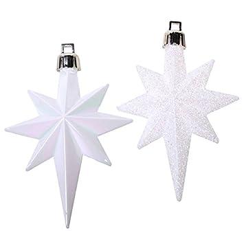 Weihnachtsstern Für Tannenbaum.16 X Weiss Matt Brillant Weihnachtsstern Christbaumstern