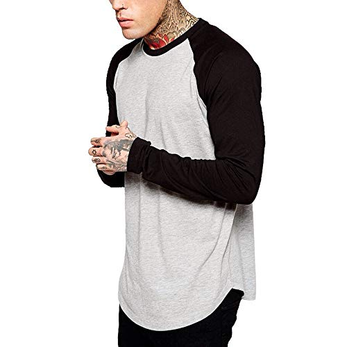 POQOQ Henley Shirt Men Classic Slim Fit O Neck Long Sleeve Muscle Casual Tops Regular-Fit Long-Sleeve XL Gray ()