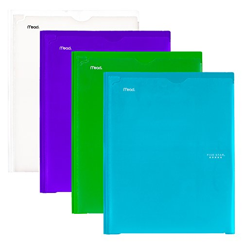 Five Star 2 Pocket Folders with Prong Fasteners, Folders with Pockets, Customizable Cover, Plastic, Teal, White, Purple, Lime, 4 Pack (38130)