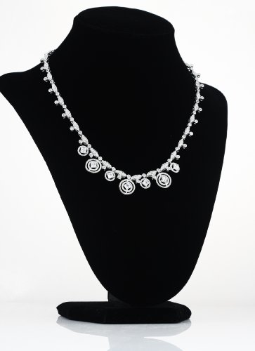 White Gold Plated (Rhodium Plated) 925 Sterling Silver with Clear Cubic Zirconia (White CZ) Pave Circle Necklace- 16
