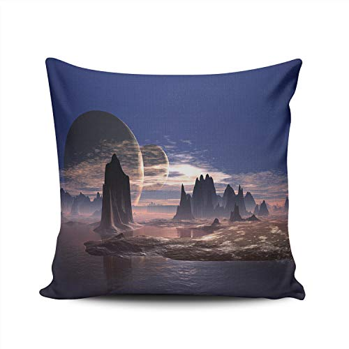 WEINIYA Bedroom Custom Decor Fantasy Alien Planet Mountain Environment Throw Pillow Cover Elegant Design Double Sides Printed Patterning Square 22x22 Inches ()