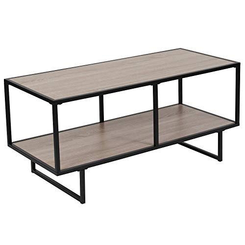(Flash Furniture Midtown Collection Sonoma Oak Wood Grain Finish TV Stand with Black Metal Frame,)