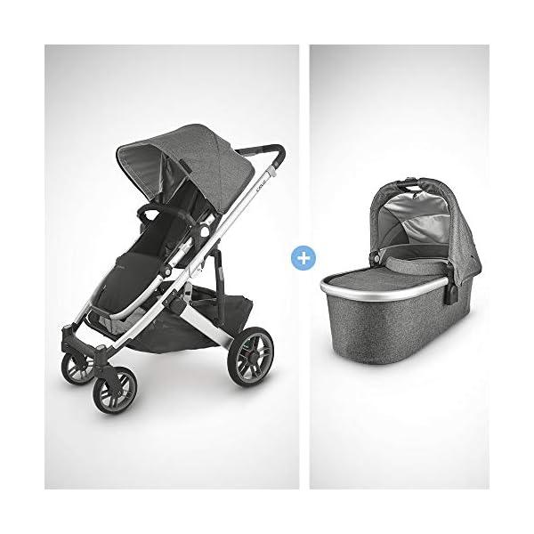 UPPAbaby Cruz V2 Stroller – Jordan (Charcoal Melange/Silver/Black Leather) + Bassinet – Jordan (Charcoal Melange/Silver)