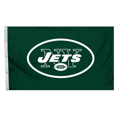 - NFL New York Jets Logo Flag with Grommets, 3 x 5-Foot