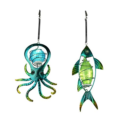 Blue Glass and Metal Art Octopus and Fish Solar Light Hanging Ornament - Outdoor Light Fish