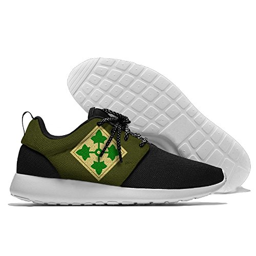 FLYOCEAN Army 4th Infantry Division Men's Leisure Lightweight Running Sports Sneakers Mesh Walking Shoes