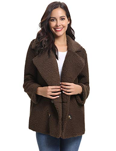 - Abollria Women's Long Sleeve Coat Casual Lapel Fleece Fuzzy Faux Shearling Warm Winter Oversized Outwear Jackets Coffee