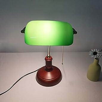 Lámpara de mesa de cristal verde de madera vintage Lámparas de ...
