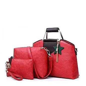 Three Pieces Red PU Handbags Set