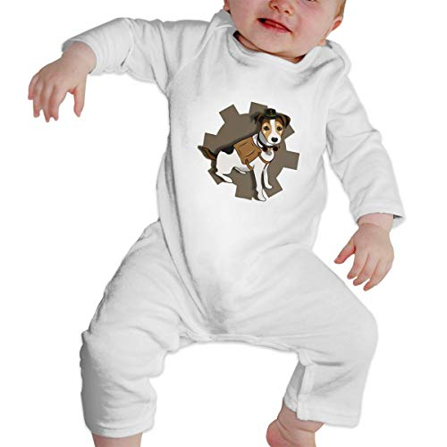 Crazy Popo Unisex Baby Cool Steampunk Dog Long Sleeve Romper Summer Jumpsuit White ()