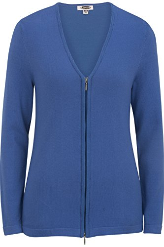 Edwards Women's Full Zip V-Neck Cardigan Sweater, French Blue, (Cotton Blend Cardigan)