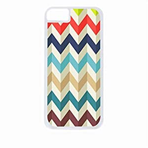 Waved Chevron Pattern- Case for the Apple Iphone 5C-Hard White Plastic Outer Shell with Inner Soft Black Rubber Lining