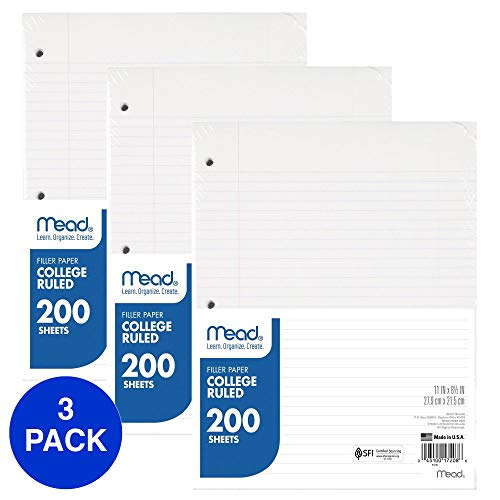 "Mead Loose Leaf Paper, Filler Paper, College Ruled, 200 Sheets, 11"" x 8-1/2"", 3 Hole Punched, 3 Pack (73189)"