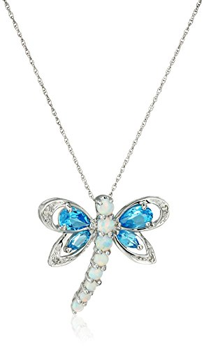 45 Blanc nbsp;k 10 7 Libellule Suisse Accent Topaze Or Et Diamant Avec Xpy Forme Opale Bleue nbsp;cm En Collier De Pendentif AtUB5q5x