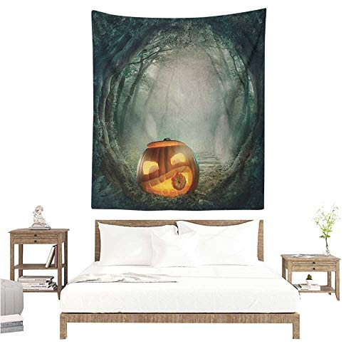 WilliamsDecor Dormitory Decorated Sand Tapestry Halloween Drawing of Scary Halloween Pumpkin Enchanted Forest Mystic Twilight Party Art 54W x 84L INCH Suitable for Bedroom Living Room Dormitory for $<!--$45.50-->