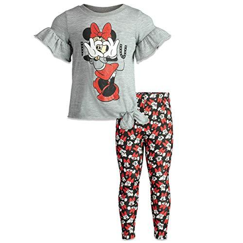Disney Minnie Mouse Toddler Girls Long Sleeve Shirt & Legging Set (Gray, 4T) -