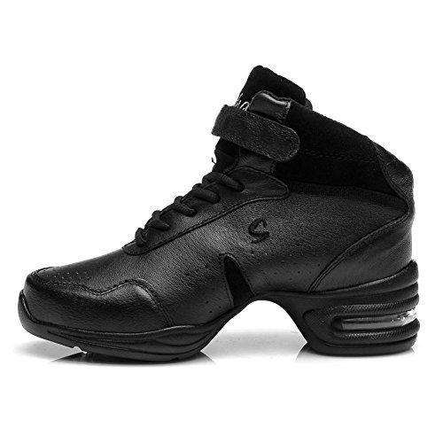 Roymall Hommes Et Femmes Cuir Boost Dance Sneaker / Moderne Jazz Ballroom Performance Danse-baskets Chaussures De Sport, Modèle B51 / B52 / B53 Noir-1