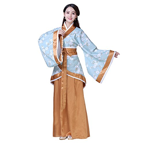 Ez-sofei Women's/Girls Ancient Chinese Traditional Costumes Hanfu (XL, F-Blue&Yellowish (Chinese Girl Costumes For Halloween)