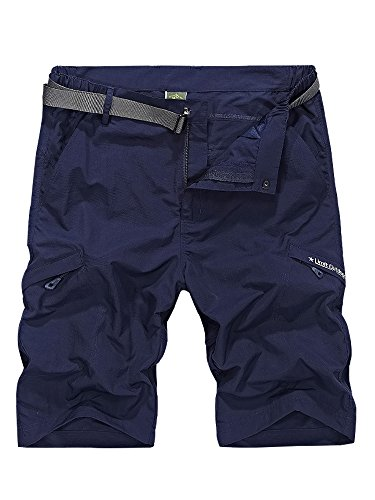 Men's Outdoor Tactical Shorts Lightweight Expandable Waist Cargo Shorts with Multi Pockets Quick Dry Water Resistant,#5516,Navy Blue,US 34/Tag 3XL