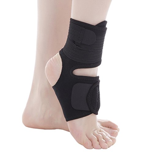 Luwint Adjustable Compression Ankle Brace - Elastic Light Thin Breathable - Running Football Basketball - Strain Sprain Arthritis - Men Women - One Size, Black, 1 Piece by Luwint