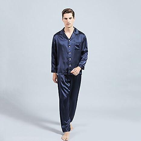 LULUSILK Conjunto de Pijama Hombre Largo de Seda 22 Momme de Solapas Bolsillo de Pecho, Azul Marino, Talla L: Amazon.es: Ropa y accesorios