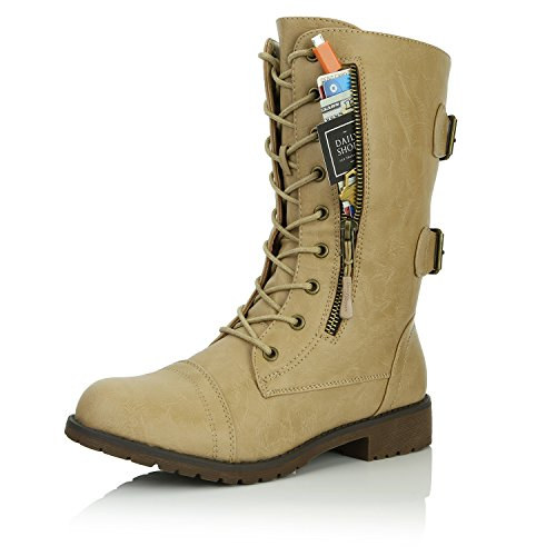 DailyShoes Women's Military Lace Up Buckle Combat Boots Mid Knee High Exclusive Credit Card Pocket, Flirty Beige, 9 B(M)