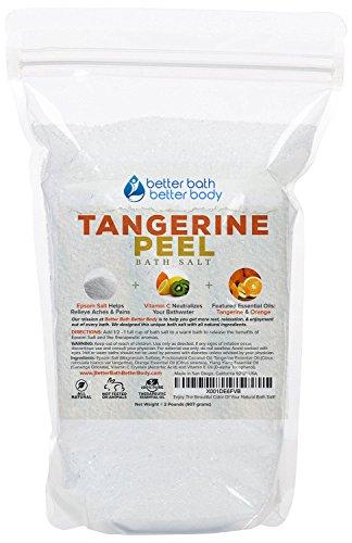 Tangerine Peel Bath Salt 32oz (2-Lbs) Epsom Salt Bath Soak With Tangerine, Orange, Ylang Ylang Essential Oil Plus Vitamin C - Like Soaking In A Bathtub Filled With Tangerines