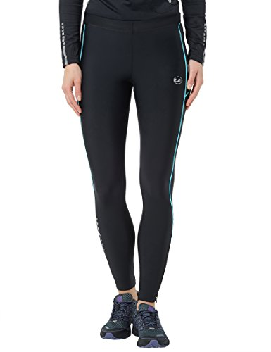Ultrasport Damen Laufhose, Lang, black turquioise, M, 10292