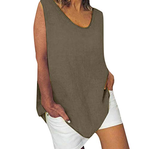 - Women's Sleeveless Blouse Linen Large Size Round Neck T-Shirt Summer Solid Color Cotton Loose Casual T-Shirt Top MEEYA Army Green