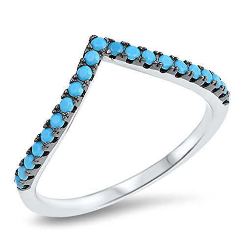 - Chevron Pointed Simulated Turquoise Thumb Ring Sterling Silver Stackable Band Size 8