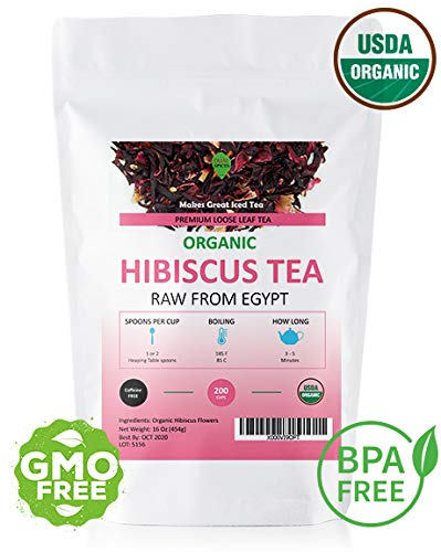 Dualspices Hibiscus TEA - 100% CERTIFIED Organic Hibiscus Flowers Tea 1 Pound, (Whole Petals) Helps Lower Blood Pressure, Makes Iced Tea Caffeine Free - Hibiscus Spice Tea