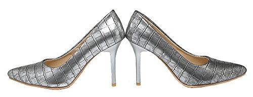 Solid Stilettos Blend Pumps WeenFashion Pull On Materials Silver Women's Spikes Shoes wSxFqTt
