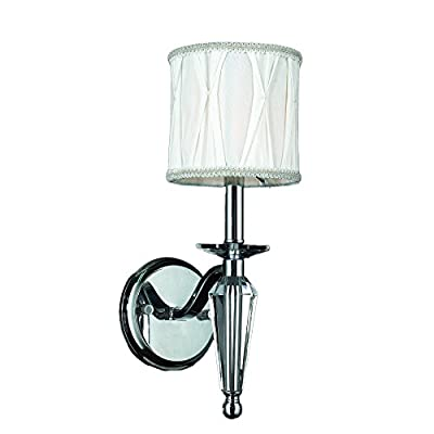 "Worldwide Lighting W23132C6 Gatsby Collection 1 Light Arm Chrome Finish & Clear Crystal Wall Sconce with White Fabric Shade 6"" W x 16"" H Small Contemporary Gatsby Collection 1 Light Clear Crystal Wall Sconce with White Fabric Shade, 6"" W x 16"" H Small"