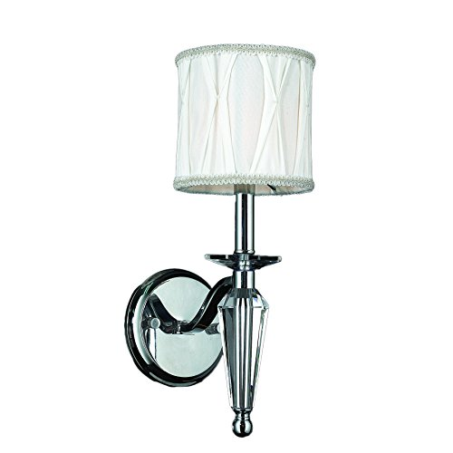 Worldwide Lighting W23132C6 Gatsby Collection 1 Light Arm Chrome Finish & Clear Crystal Wall Sconce with White Fabric Shade 6