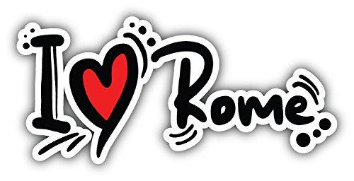 - I Love Rome Slogan Art Decor Bumper Sticker 6'' x 3''
