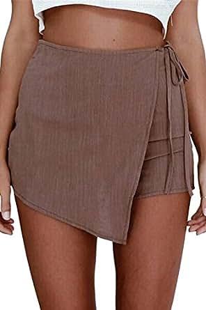 La Mujer Casual Solid Cintura Alta Falda Asimétrica De Una Linea ...