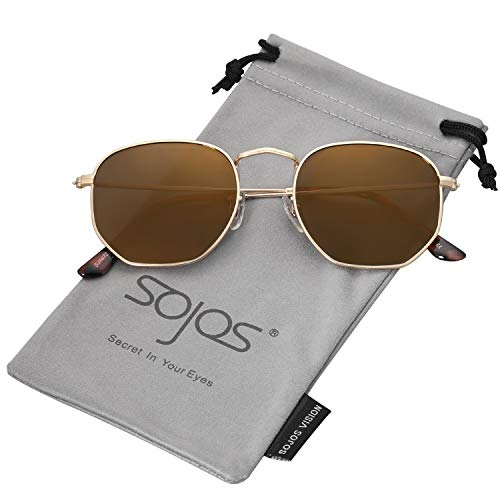 - SOJOS Small Square Polarized Sunglasses for Men and Women Polygon Mirrored Lens SJ1072 with Gold Frame/Gold Mirrored Polarized Lens