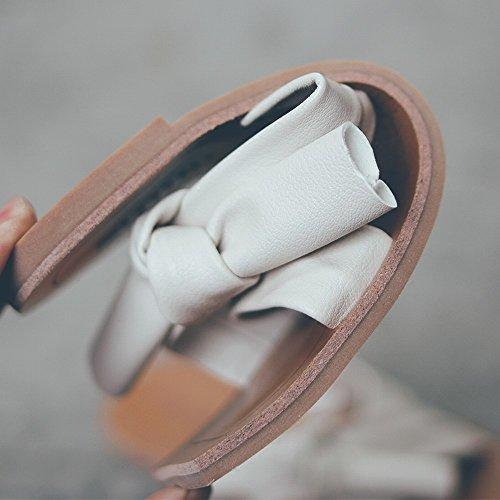 DIDIDD Sandales Plage Pantoufles Blanc Bow Doux Chaussures Plates de D'Été Paresseux Loisirs Chaussures des Porter Femmes 40 rr6xdPWHq1