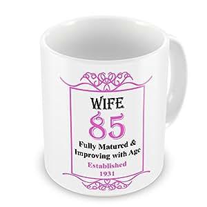 Esposa 85th cumpleaños establecido 1931años–taza rosa