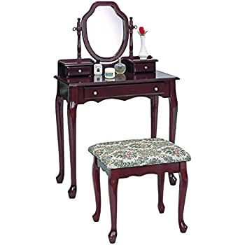 Amazon Com 2 Piece Vanity Set With Tapestry Fabric Seat