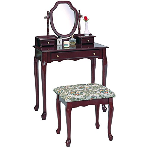 Coaster Traditional Brown-Red Vanity with Tapestry Fabric Seat Stool
