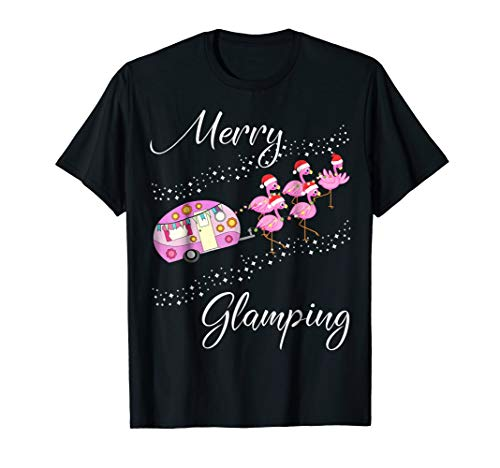 Merry Glamping T-Shirt Funny Christmas Flamingo Camper Gift