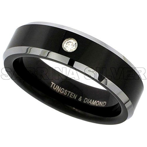 6mm Black Tungsten Diamond Wedding Ring for Him & Her Two-tone Beveled Edges Comfort fit, size 5