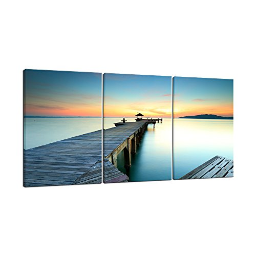 Wieco Art Bridges over the Sea Large Canvas Prints Wall Art Seascape Pictures Paintings for Bathroom Living Room Home Decorations 3 Panels Modern Gallery Wrapped Ocean Sea Beach Giclee Artwork L